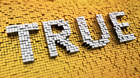 verifiable: Pixelated word TRUE made from cubes, mosaic pattern Stock Photo