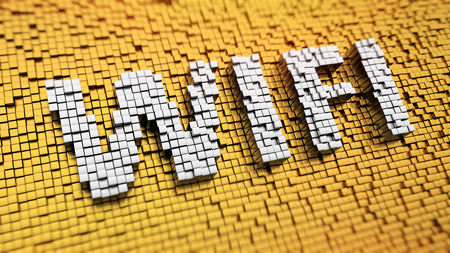 Pixelated word Wi-Fi made from cubes, mosaic pattern photo