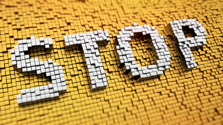Pixelated word STOP made from cubes, mosaic pattern photo