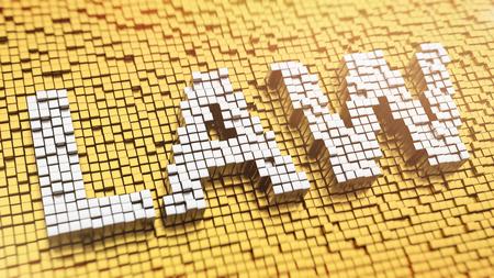 edicto: Pixelated palabra LEY hecha de cubos, patrón de mosaico