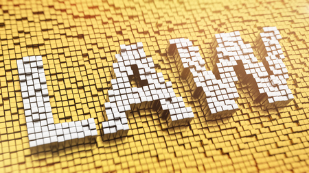 Pixelated word LAW made from cubes, mosaic pattern photo