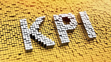 Pixelated acronym KPI made from cubes, mosaic pattern photo
