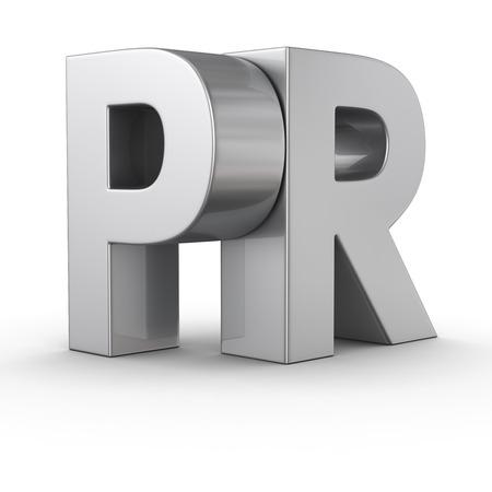 Big Metallbuchstaben PR auf weißem Hintergrund
