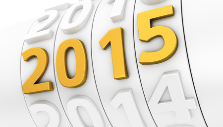 White counter of years and golden 2015 number Stock Photo - 30031407