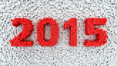 New year 2015 digits extruded from white sticks background photo
