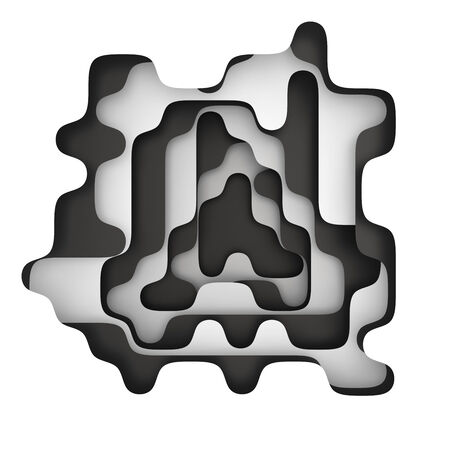 hollow: Hollow in the abstract layered background of black and white colors Stock Photo