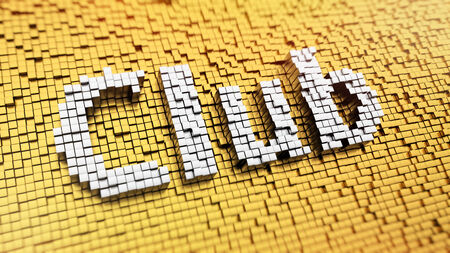 a cudgel: Pixelated word Club made from cubes, mosaic pattern