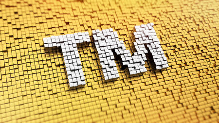 tm: Pixelated TM sign made from cubes, mosaic pattern Stock Photo