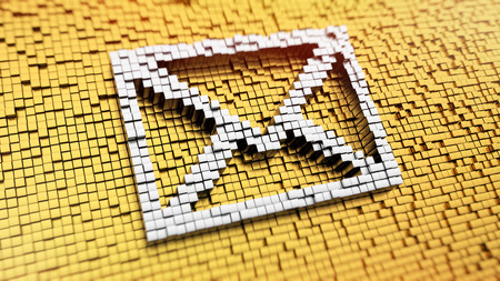 Pixelated envelope sign made from cubes, mosaic pattern photo
