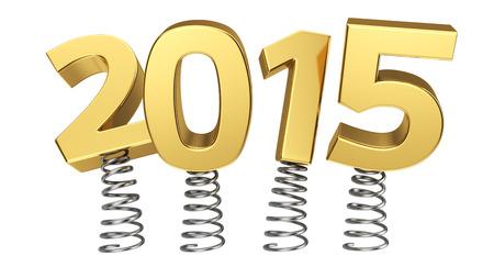 Golden digits 2015 jumping on springs Standard-Bild