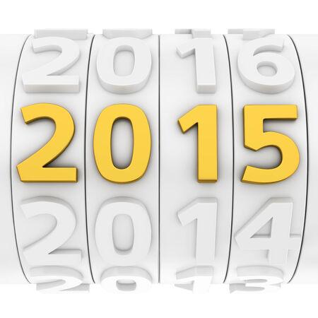 Wit nieuwe jaar teller met gouden 2015 nummer