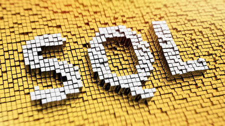 Pixelated acronym SQL made from cubes, mosaic pattern