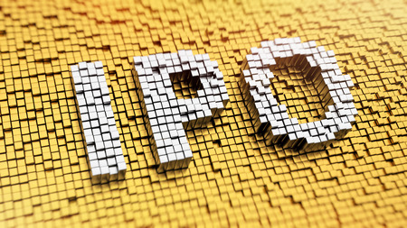 Pixelated acronym IPO made from cubes, mosaic pattern Stock Photo