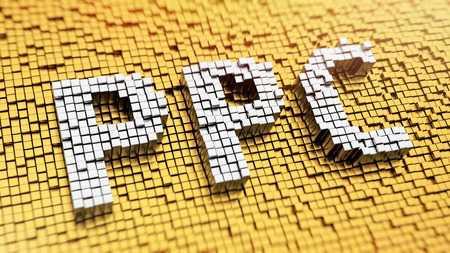 ppc: Pixelated acronym PPC made from cubes, mosaic pattern