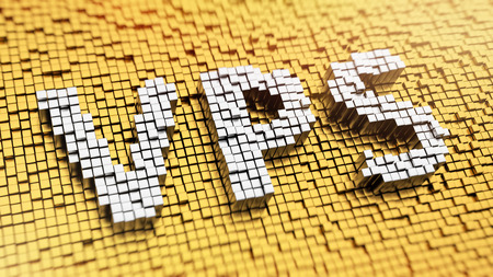 virtualization: Pixelated acronym VPS made from cubes, mosaic pattern