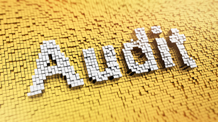 test probe: Pixelated word AUDIT made from cubes, mosaic pattern