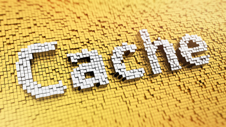 Pixelated word Cache made from cubes, mosaic pattern photo