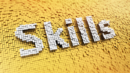 Pixelated word SKILLS made from cubes, mosaic pattern