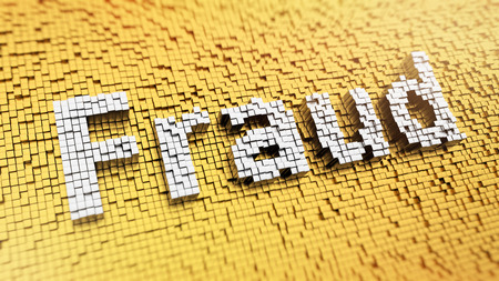 internet fraud: Pixelated word Fraud made from cubes, mosaic pattern