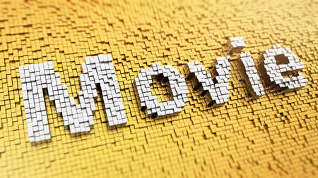 Pixelated word Movie made from cubes, mosaic pattern photo