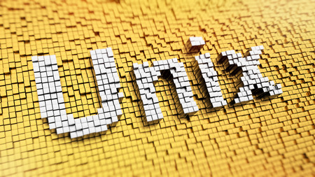 Pixelated word UNIX made from cubes, mosaic pattern Stock Photo