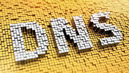 translates: Pixelated acronym DNS made from cubes, mosaic pattern