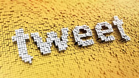 tweet: Pixelated word TWEET made from cubes, mosaic pattern