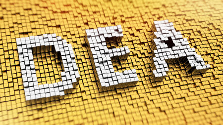 coordinating: Pixelated acronym DEA made from cubes, mosaic pattern