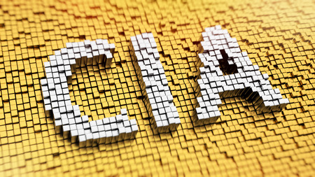 Pixelated acronym CIA made from cubes, mosaic pattern photo