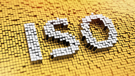 quality: Pixelated acronym ISO made from cubes, mosaic pattern