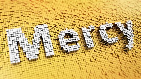 remission: Pixelated Misericordia parola composta da cubi, mosaico Archivio Fotografico
