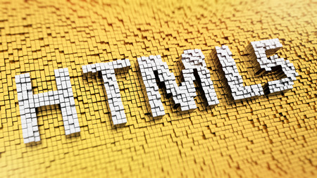 html5: Pixelated acronym HTML5 made from cubes, mosaic pattern
