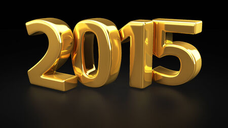 new year: Big gold digits 2015 on black background