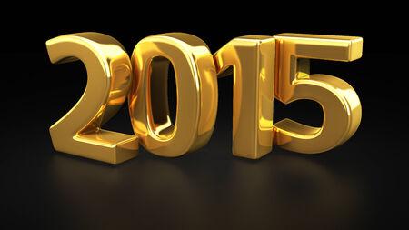 weihnachten gold: Big goldenen Ziffern 2015 auf schwarzem Hintergrund Lizenzfreie Bilder