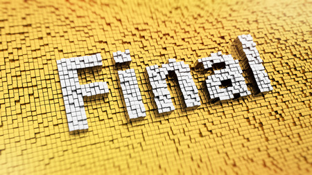 finite: Pixelated word Final made from cubes, mosaic pattern Stock Photo