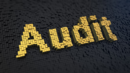 financial audit: Word Audit of the yellow square pixels on a black matrix background Stock Photo