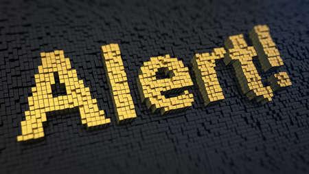 Word Alert of the yellow square pixels on a black matrix background Фото со стока