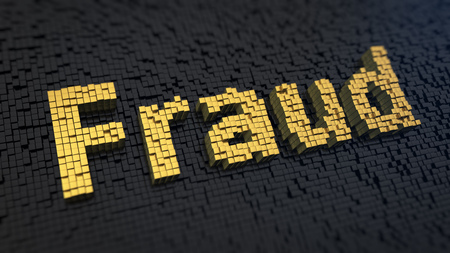 Word Fraud of the yellow square pixels on a black matrix background photo