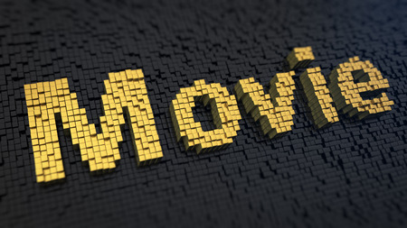 Word Movie of the yellow square pixels on a black matrix background. Schedule or list of movies photo