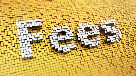Pixelated word Fees made from cubes, mosaic pattern