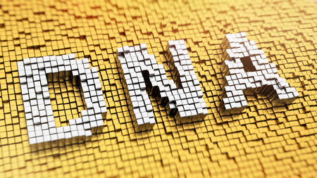 Pixelated acronym DNA made from cubes, mosaic pattern photo