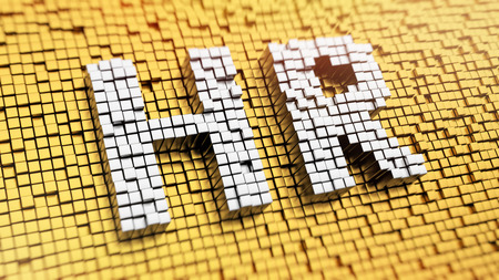 Pixelated acronym HR made from cubes, mosaic pattern photo