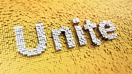 Pixelated word Unite made from cubes, mosaic pattern Stock Photo