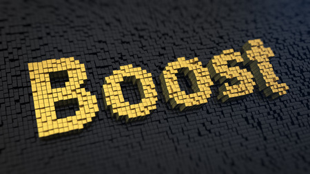 Word Boost of the yellow square pixels on a black matrix background photo