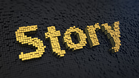 anecdote: Word Story of the yellow square pixels on a black matrix background
