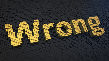 incorrectly: Word Wrong of the yellow square pixels on a black matrix background