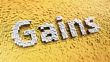 emolument: Pixelated word Gains made from cubes, mosaic pattern Stock Photo