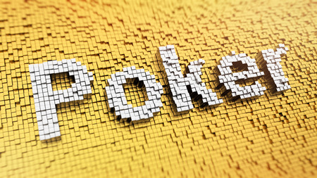 Pixelated word Poker made from cubes, mosaic pattern photo
