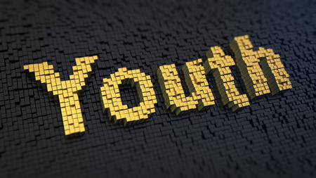 Word Youth of the yellow square pixels on a black matrix background. Freedom, carelessness and opportunities concept. photo