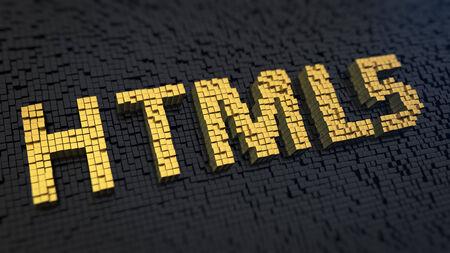 html5: Acronym HTML5 of the yellow square pixels on a black matrix background. Webpage language concept. Stock Photo